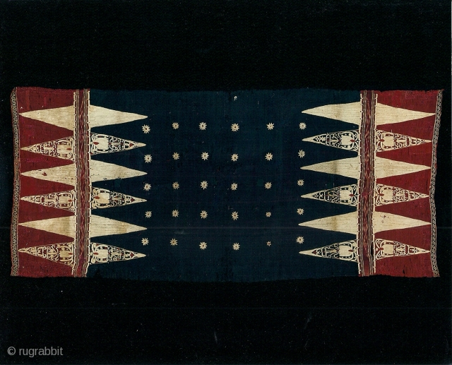Indonesian textiles Indonesia 001- ceremonial textile  (bidak), Lampung south Sumatra, early 19th century, cotton - silk, embroidery, dip dying, condition various repairs. Price on request.