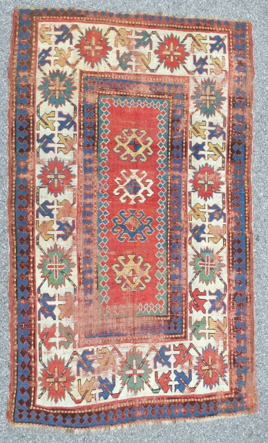 Classic red wefted Bordjalu Kazak Rug. Circa 1850-70.