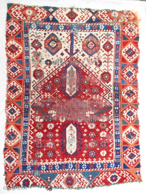 Rare small Western Anatolian (mini Transylvanian) prayer rug. 18th c. or older.