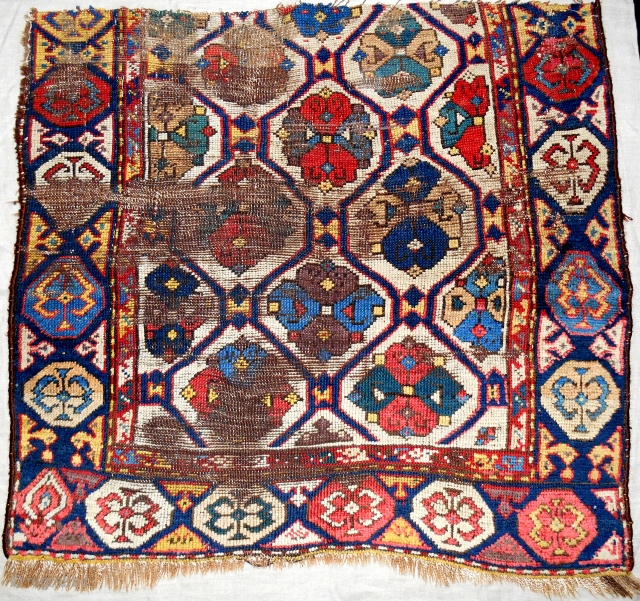South Caucasian or Shahsaven rug fragment. Wild, tribal drawing with excellent all natural saturated color. Early 19th c. Have you ever seen another??