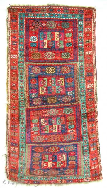 Rare design East Anatolian Kurdish rug. Circa 1850-70. Full, silky pile. All original. Natural color.