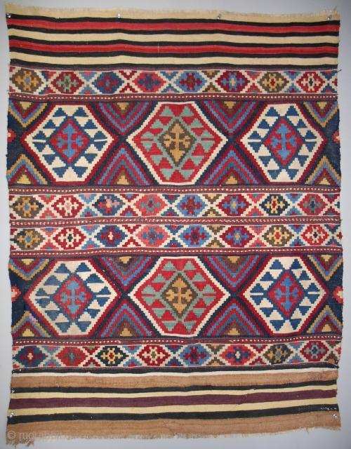 Very colorful small Caucasian kilim > c. 1850-70.