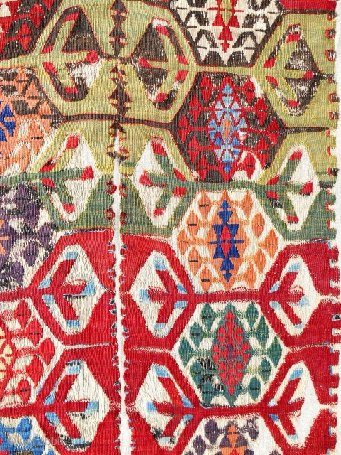 18th C. Anatolian Kilim fragment. Conserved & mounted on linen.