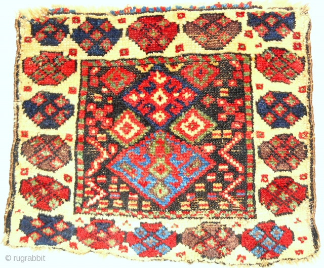 Unusual Jaf Kurdish bagface. Good pile & exceptional color. Circa 1880.
