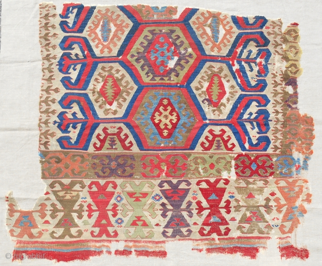 Fine Central Anatolian kilim fragment. Circa 1800. Conserved and mounted on linen.