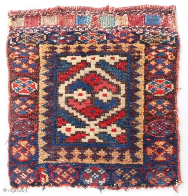 Small Kurdish bagface with classic SaujBulagh design motif. Original, nearly full pile condition. C. 1870.
