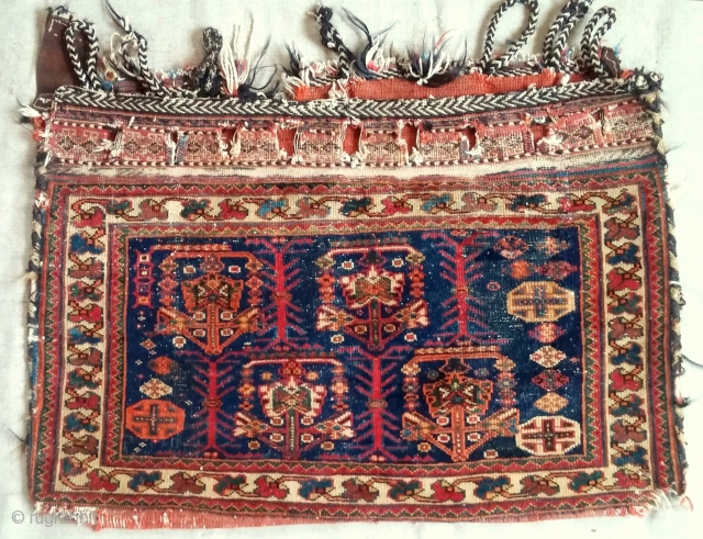 Complete Afshar bag with original red back intact. c. 1870. Fine example.