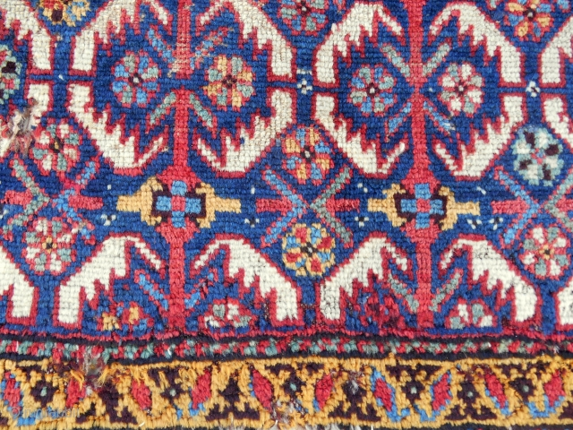 Early South Persian (Luri) bagface with pile, great color & rare design.