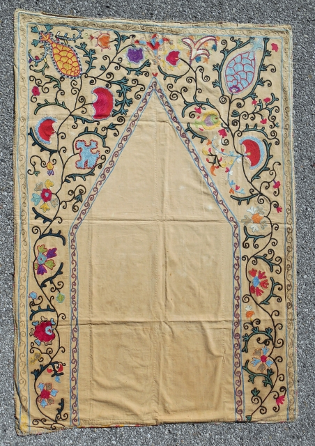 Charming Uzbek prayer Suzani. Excellent color and fluid drawing. Good condition. Circa 1850-70.
