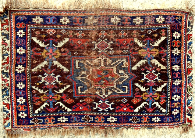 "Super fine and thin Southwsest Persian bagface. One of the oldest I have ever seen. Simply sublime colors. ""Velvet"" wool quality. 1850 or older. Truly rare!"