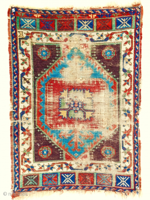 Fabulous early 19th c. Anatolian yastik. Very worn but rare drawing and great color!