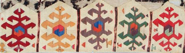 Large 18th C. Central Anatolian kilim panel fragment (detail). Conserved and mounted on linen.