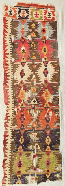 18th c. central Anatolian kilim panel. Conserved and mounted on linen.