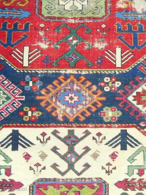 "C. 1850-70 Fine Shirvan ""Chajli"" rug. (detail) Original & complete."