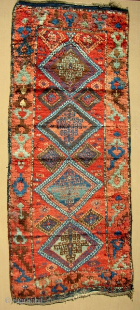 East Anatolian Kurdish rug. Early 19th c. Full silky pile. Fire ember-like colors.
