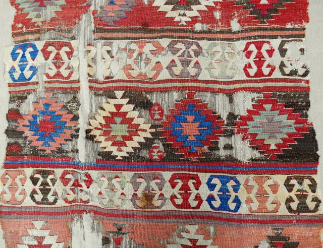 18th C. Central Anatolian full 1-piece banded kilim (detail). Conserved and expertly mounted on linen. Sublime color!