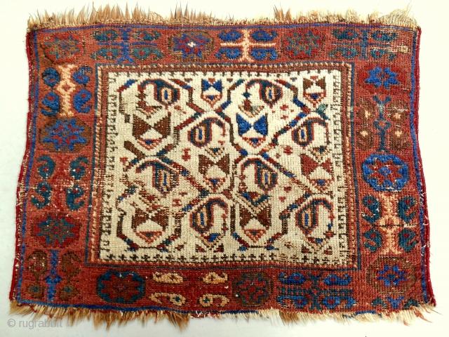 Rare Afshar bagface. Circa 1870.