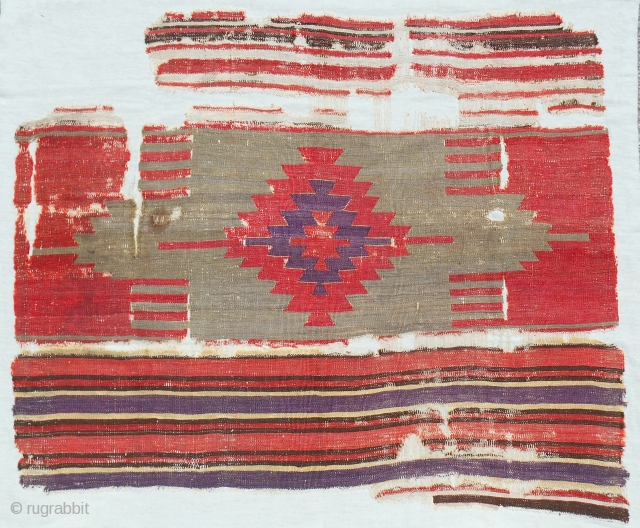 """Excellent 18th c. one piece central Anatolian kilim fragment (54"""" x 46"""") Conserved and mounted on linen."""