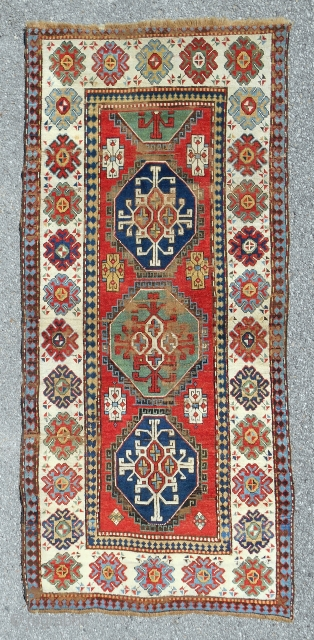 Gendje Azerbaijan rug in pretty good condition. C. 1880.