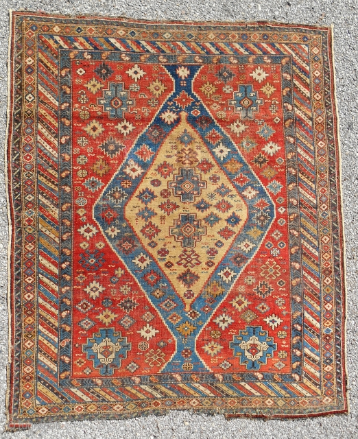 Rare, very fine and thin Shirvan rug. Squarish. C. Mid 19thc.