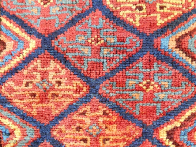 """Excellent complete Persian Kurdish chanteh (14"""" x 13"""") with a beautiful back. Perfect! c. 1880."""