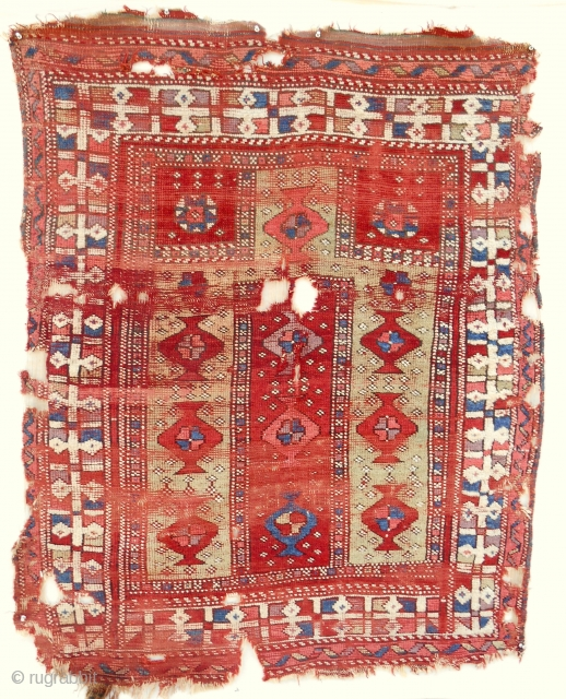 18th c. West Anatolian prayer rug (4x5ft). Very rare type. Only seen one other in Vakiflar museum. Excellent wool quailty and color. Clean.