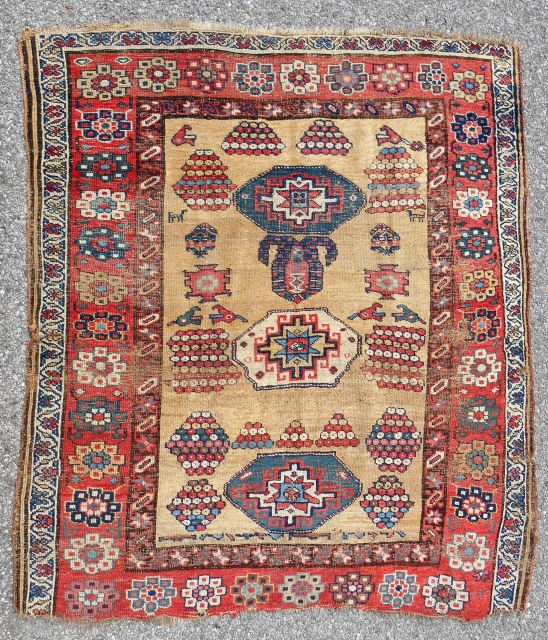 Unique Kurdish Bijar rug with playful design. c. 1850-70.