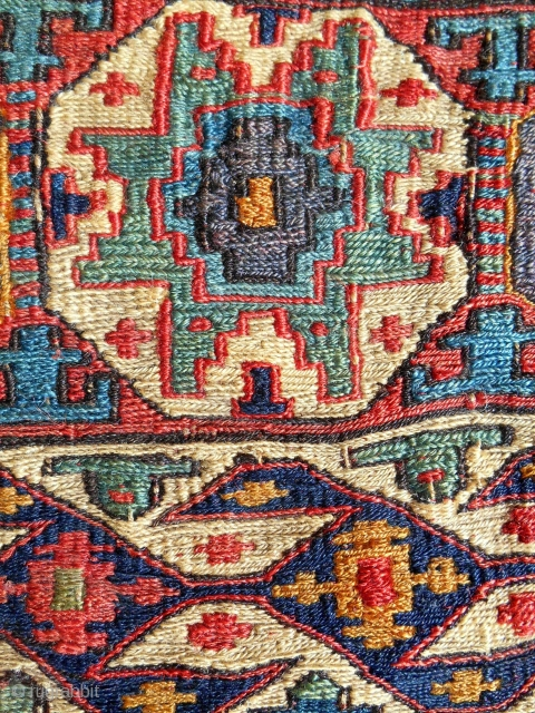 Small Caucasian sumak chanteh with Lesghi star. (8.5 x 8.5in /21 x 21cm) c. 1850. Excellent condition. Rare tribal piece.