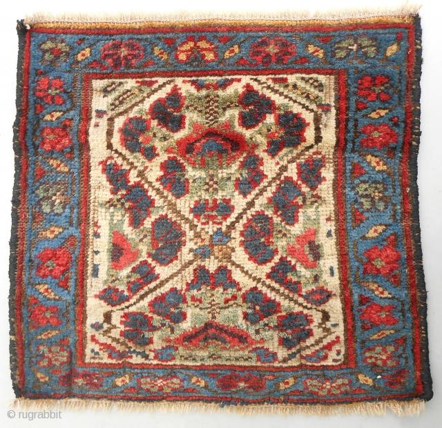 Rare white ground Persian Kurdish bagface. Very good condition. Full pile. C. 1870. Very cool!