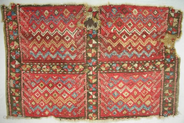 Rare Konya Cappadocia village rug fragment > early 19th C. > Full pile!