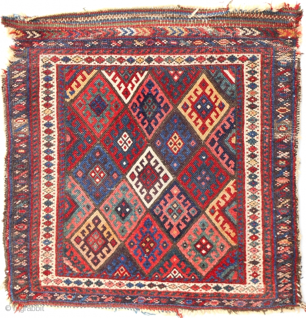 Very colorfuf 19th c Jaff Kurdish bagface.