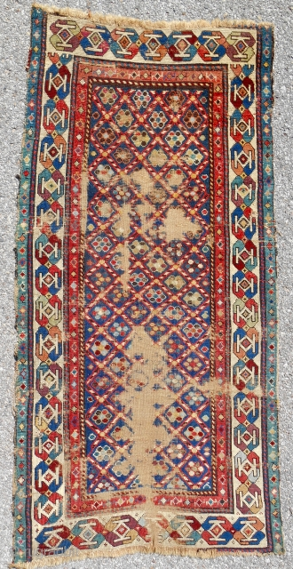 "Small(32"" x 64"") Caucasian striped lattice rug with exceptional range of old color. Low, thin and worn but silky pile. Age: 1840-60."