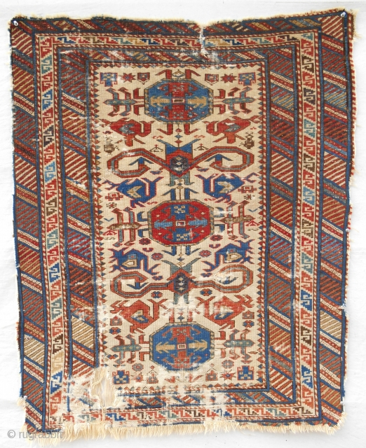 """Very fine, small Caucasian Kuba """"Perepedil"""" rug with a great border and refined drawing. c. 1850-70. Restorable."""