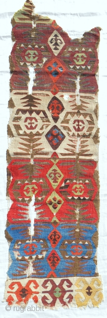 Early 19th C. Anatolian kilim fragment panel. Conserved & mounted on linen.