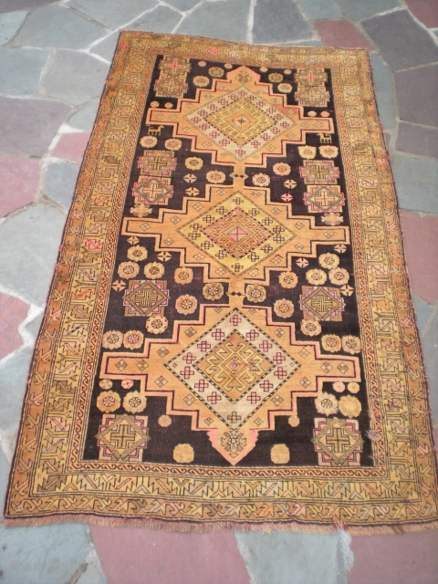 "Antique Caucasian rug, 7' 4"" X 4' 1"", exact provenance unknown to me (Turkish? any info welcome). Unique colors, no repairs, some oxidation to brown, scattered small holes present, minimal selvedge wear,  ..."