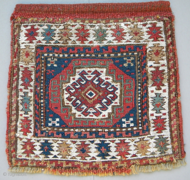 Shahsavan chanteh face, 30 x 30 cms, 19th century, prob. Khamseh area, wool warps, white in the sumak is cotton, light red ground wefts, all good colours.