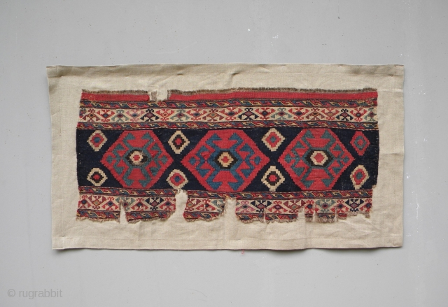 19th century Shahsavan mafrash side panel, probably Moghan-Savalan area, too many colours to count including petrol green, light blue, gold and terracotta; mixed technique – sumak in the borders and kilim weave  ...