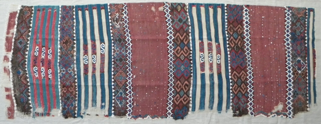 "East Anatolian kilim fragment, 241 x 86 cms; 19th century; this type with sections of four connected white wool bands is usually attributed to the Malatya area (see for example, Petsopoulos ""Kilims"",  ..."