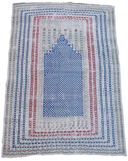 """Anatolian Prayer Rug , Probably Ghiordes ,   Copious and charming use of white cotton makes for a subtle but sophisticated graphic quality.  (size = 4'1"""" x 5'9""""), First Half of the 19th Century  ..."""