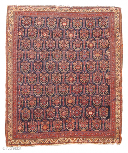 Early Afshar rug with a very fine handle and elegant drape.
