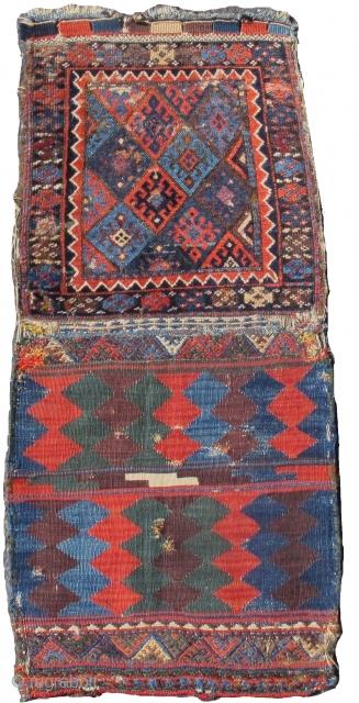 "Jaf Kurd bag with colorful flatwoven back. bagface measures 2'0""x2'0""  https://www.peterpap.com/product/kurdish-bag/"