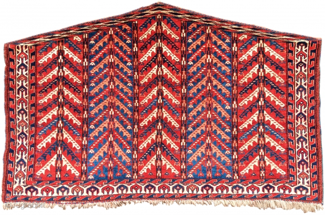 """Yomut asmalyk, 19th C (3rd Q), large scale, size=  4'6""""x2'10"""" Very good condition. No restoration.  Being sold on behalf of Dr. Robert Emry as part of our exhibition 'Artful Weavings'  http://www.peterpap.com/searchResults.cfm?searchType=collections"""