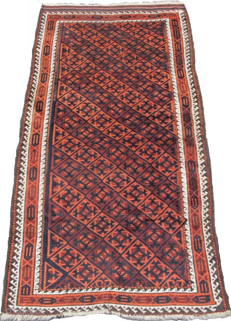 """Baluch rug with a tile design, great wool, 3'2""""x5'7""""  https://www.peterpap.com/product/baluch-rug-33/"""