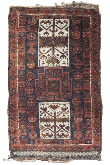 """Baluch balisht with Turkmen tent-band references. 1'10""""x3'1""""  https://www.peterpap.com/product/baluch-balisht-12/"""