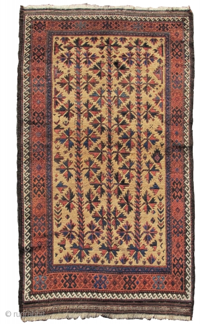 """camel ground Baluch rug, so-called 'Arab Baluch' type. 3'6""""x5'11""""  https://www.peterpap.com/product/baluch-rug-25/"""