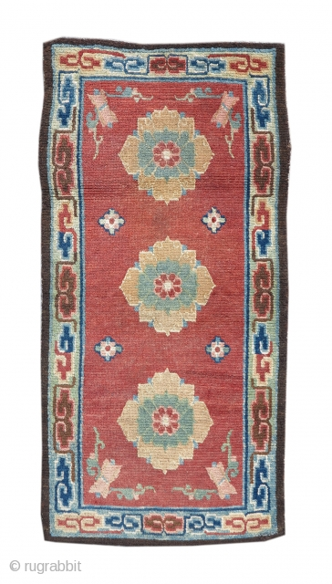 Tibetan rug with three lotus blossoms on a red ground. 