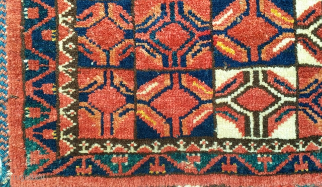 Bashir or Middle Amu Darya Area torba or trapping. Large scale repeat geometric drawing with natural colors and lustrous wool pile. Cotton weft including some blue cotton at top. 