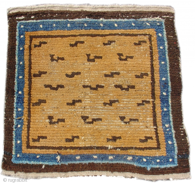 "Tibetan Tiger Square Mat, second half of the 19th century. a very nice example. Portions of the outer border have been rewoven at both ends. 2'2"" x 2'3"" inv# 7129_s"