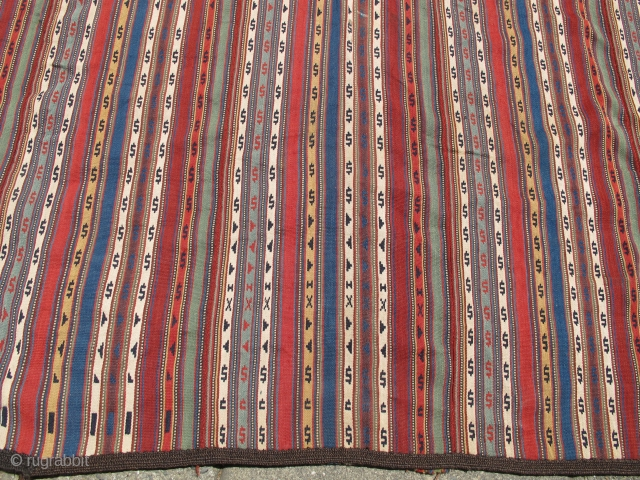 """Northwest Persian Jajim with floating weft work and a rainbow of colors. size : 5'7""""x6'9"""". Inv.#S5954  Our website has been updated. Take a look at http://www.peterpap.com/"""