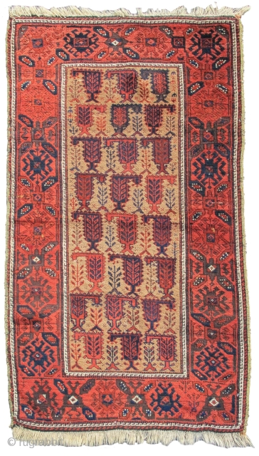 """Baluch rug, camel ground with botehs, 2'10""""x4'8""""  https://www.peterpap.com/product/baluch-rug-26/"""